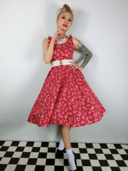 画像1: ☆HELL BUNNY☆Marin 50s Dress Red 13号