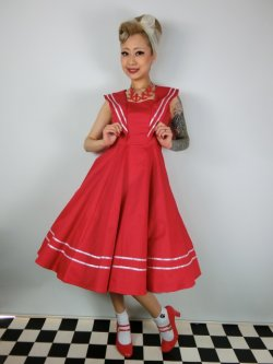 画像1: ☆H&R☆Red Sailor Long Dress 15号