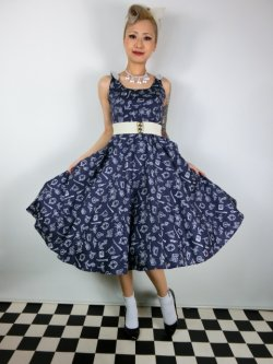 画像2: ☆HELL BUNNY☆Marin 50s Dress Navy 11号