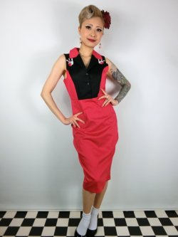 画像1: ☆Lindy Bop☆Matessa Red Bowling Pins Wiggle Dress 9号