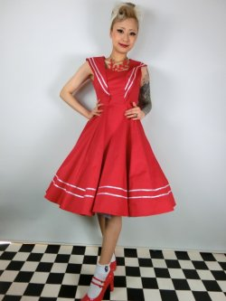 画像2: ☆H&R☆Red Sailor Long Dress 15号