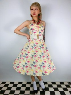 画像2: ☆Collectif☆Fairy Flamingo Print Swing Dress 15号