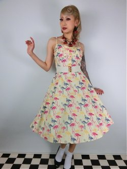 画像1: ☆Collectif☆Fairy Flamingo Print Swing Dress 15号