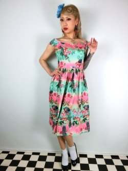 画像2: ☆HELL BUNNY☆Peacock 50s Dress 13号