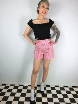 画像1: ☆Lindy Bop☆Nishka Red Gingham Shorts 11号