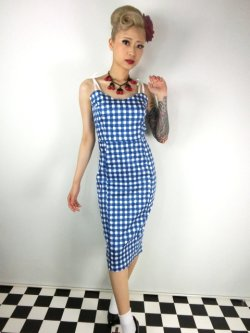 画像1: ☆Collectif☆Nancy Painted Gingham Pencil Dress  9号