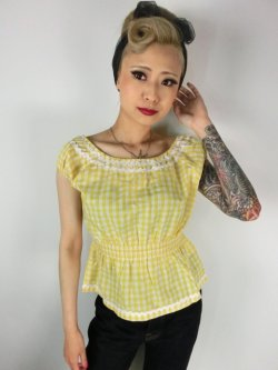 画像1: ☆Lindy Bop☆Caterina Yellow Gingham Top  11号