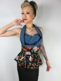 ☆Lindy Bop☆Wilma Swallow Print Halterneck Top 9号