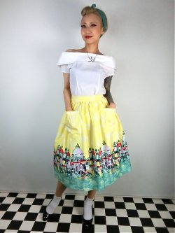画像1: ☆Lindy Bop☆Contessa Yellow Venice Border Skirt 13号