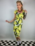 ☆Collectif☆Regina Lemons Print Pencil Dress Yellow 9号