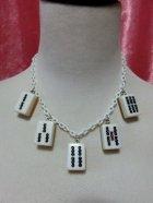 他の写真1: 麻雀牌ネックレス 白牌金裏 × ホワイトチェーン
