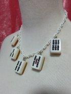 他の写真2: 麻雀牌ネックレス 白牌金裏 × ホワイトチェーン