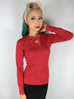 画像1: ☆Collectif☆Beau Cherry Pointelle Jumper 11号