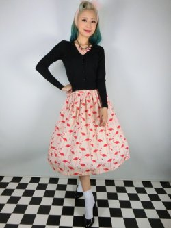 画像1: ☆Lindy Bop☆Praia Flamingo Print Swing Skirt 11号