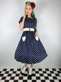 ☆Lindy Bop☆Brittany Navy Heart Print Swing Dress 11号