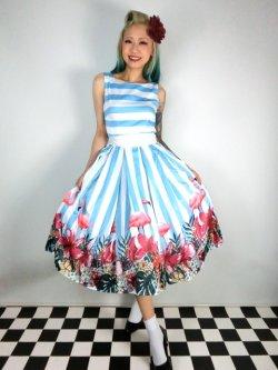 画像1: ☆Collectif☆Vanessa Striped Flamingo Dress 15号