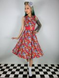 ☆H&R☆Red Floral Rockabilly Dress 13号