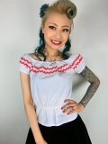 Vivien of Holloway Gypsy Top White/Red Trim SizeS(7号)