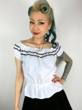 Vivien of Holloway Gypsy Top White/Black Trim SizeL(11号)