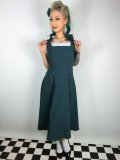 ☆Collectif☆ GERTRUDE 40S PLAIN OVERALLS DRESS Teal 15号