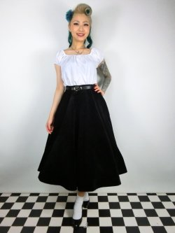 画像2: ☆Collectif☆ROSIE QUILTED VELVET SWING SKIRT 7号