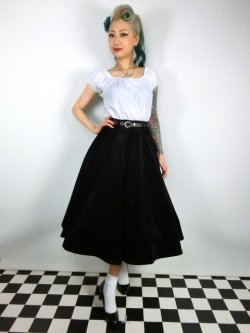 画像1: ☆Collectif☆ROSIE QUILTED VELVET SWING SKIRT 11号