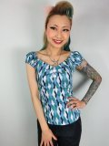 ☆Collectif☆DOLORES ATOMIC HARLEQUIN TOP Blue/Jade 7号