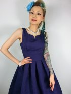 他の写真2: ☆Lindy Bop☆Felicia Blue Brocade Swing Dress 9号