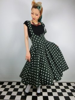 画像2: ☆Collectif☆Mary Polka Dot Flock Swing Skirt Green 13号