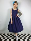 ☆Lindy Bop☆Felicia Blue Brocade Swing Dress 9号
