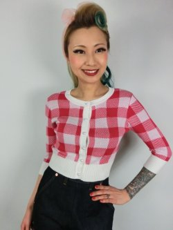 画像2: ☆Collectif☆LUCY GINGHAM CARDIGAN Red 15号