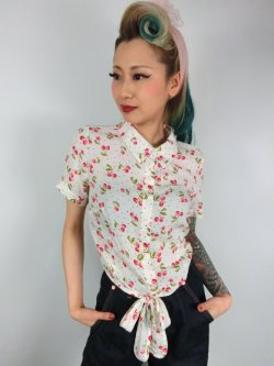 画像2: ☆Collectif☆SAMMY CHERRY TIE BLOUSE 15号