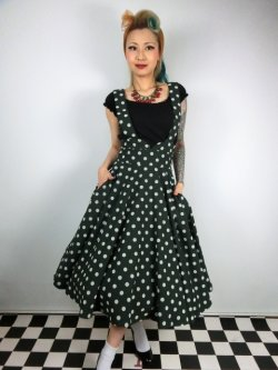 画像1: ☆Collectif☆Mary Polka Dot Flock Swing Skirt Green 13号
