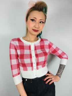画像1: ☆Collectif☆LUCY GINGHAM CARDIGAN Red 15号
