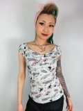 ☆Collectif☆DOLORES 50S CAR PRINT TOP  Ivory 17号