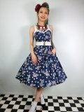 ☆HELL BUNNY☆Oceana 50s Dress Navy 15号