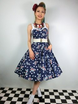 画像1: ☆HELL BUNNY☆Oceana 50s Dress Navy 11号