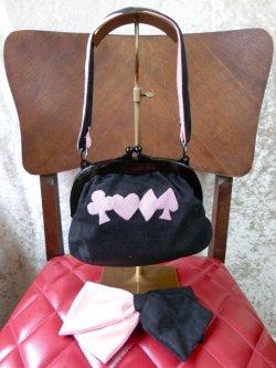 画像1: がま口バッグ&共布ヘアリボンバレッタセット Pink×Black