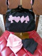 他の写真3: がま口バッグ&共布ヘアリボンバレッタセット Pink×Black