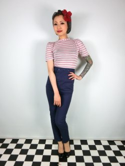 画像1: ☆Collectif☆TALIS PLAIN CIGARETTE TROUSERS Navy 15号