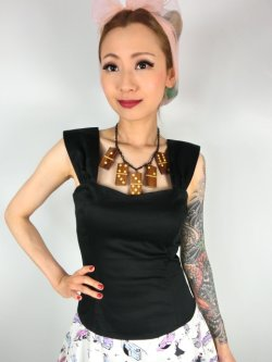 画像1: ☆Collectif☆JILL PLAIN TOP  Black 15号