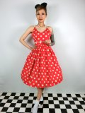 ☆Lindy Bop☆Honor Red Polka Dot Swing Dress 9号
