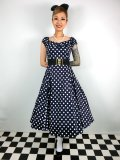 ☆Collectif☆Dolores Doll Dress Polka - Navy Blue 15号