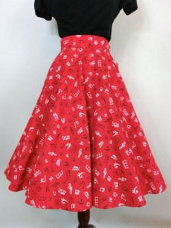 画像2: ☆Heart of Haute☆Circle Skirt - Music Notes Red (S)11号