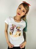 チェリハニプリント☆HarlequinTシャツ White  Size XL