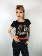 他の写真1: チェリハニプリント☆HarlequinTシャツ Black  Size S