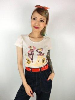 画像1: チェリハニプリント☆HarlequinTシャツ Natural  Size L