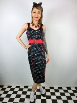画像2: ☆Collectif☆SAMIRA ROCKABILLY SWALLOWS PENCIL DRESS 15号