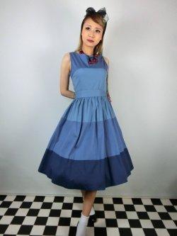 画像1: ☆Lindy Bop☆Audrey Blue Striped Swing Dress 13号