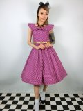 ☆Lindy Bop☆Hetty Purple Polka Dot Print Swing Dress 9号